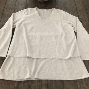 J Jill Pure V Neck Oatmeal Double Layer Sweater XL